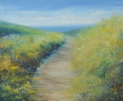 British Landscape Painting of Coastal Summer Path by Cornwall Seascape Artist UK