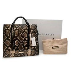 Amanda Wakeley Black Python Embossed Leather Shopper Bag