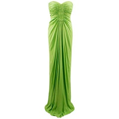 Amanda Wakely Lime Green Strapless Gown SIZE S