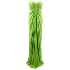 Amanda Wakely Lime Green Strapless Gown - Size Small