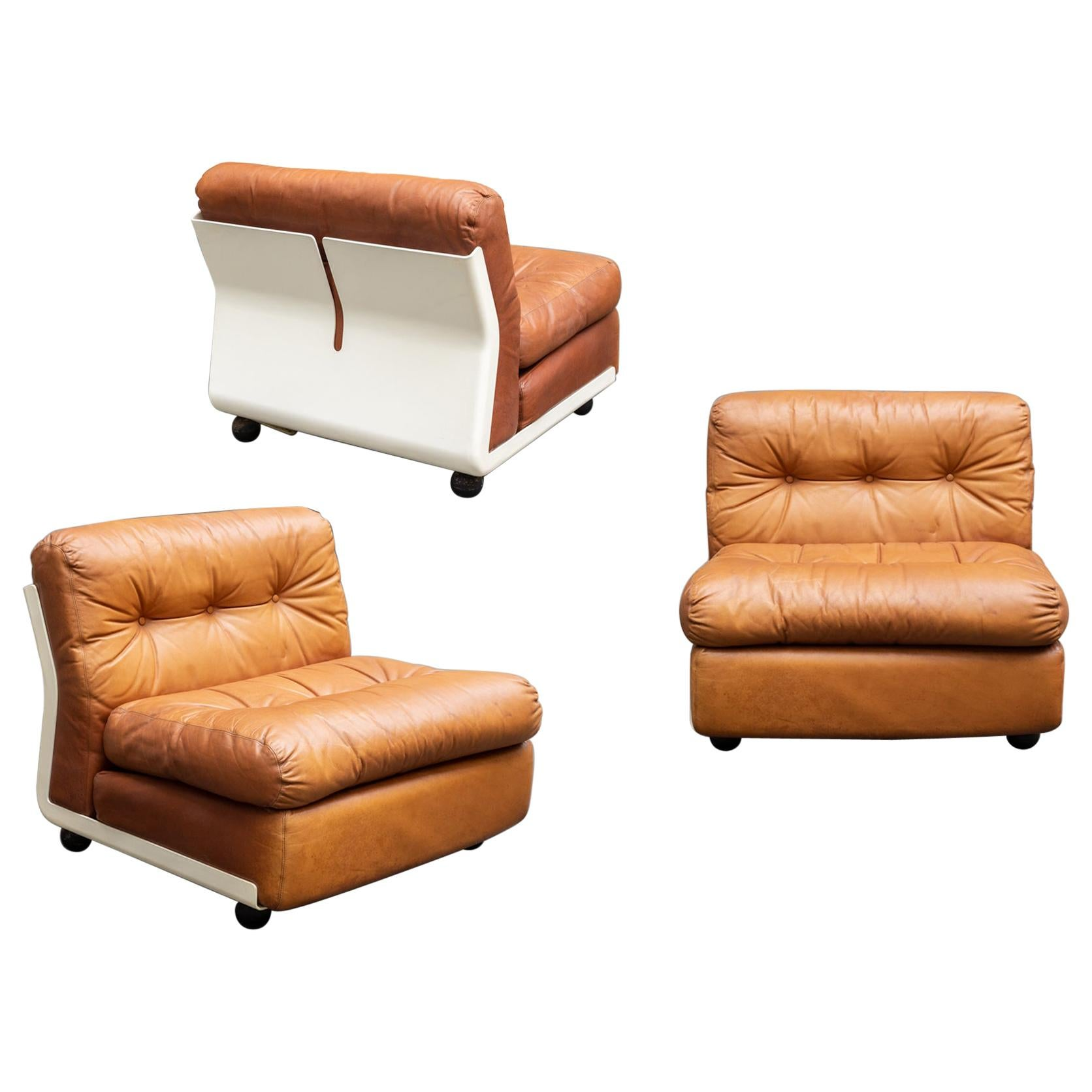 Amanta Leather Set of 3 Armchair by Mario Bellini from C&B Italia, 1960s