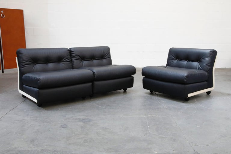 Leather 'Amanta' Sectional Lounges by Mario Bellini for C&B Italia, circa 1966, Signed For Sale