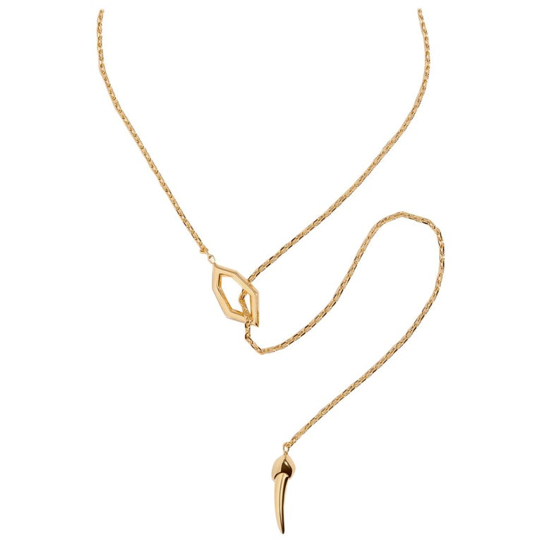 Angie Marei Amanti Lariat Chain Necklace in 18K Yellow Gold  For Sale