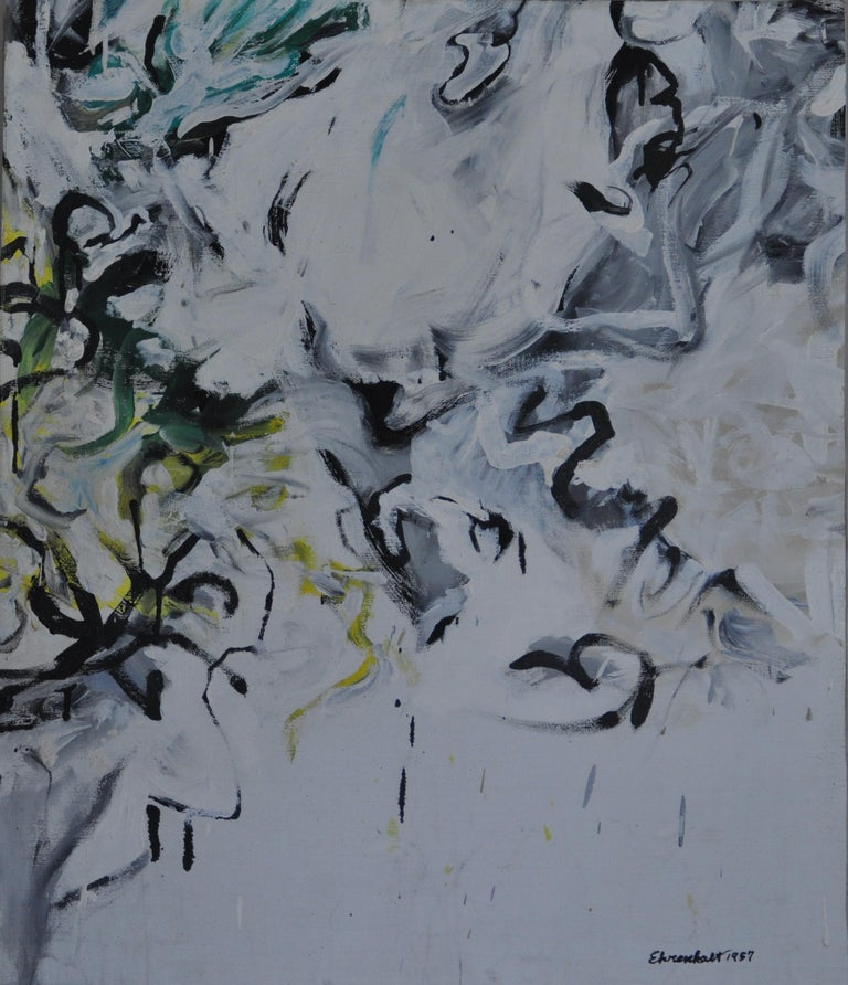 Grand Rapids 5 - Gray Abstract Painting by Amaranth Ehrenhalt