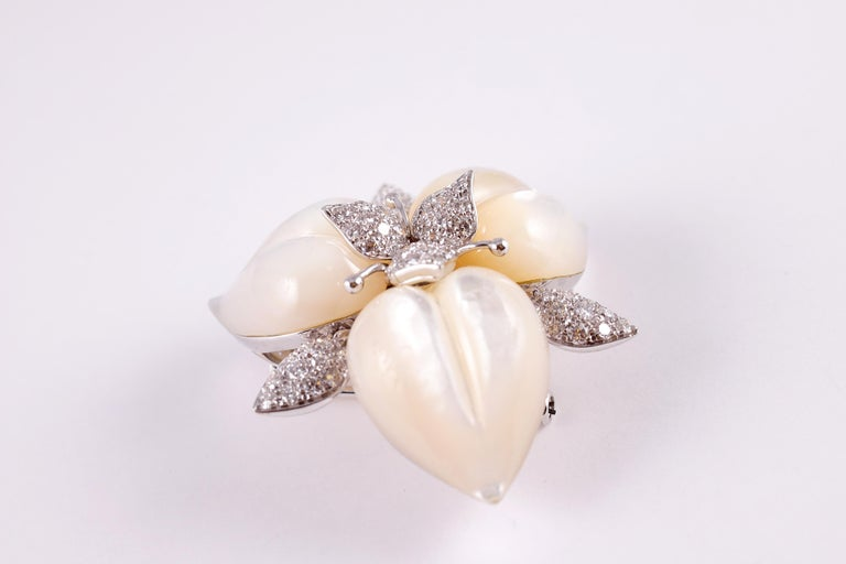 Amarosa Mother of Pearl Diamond Brooch For Sale 1