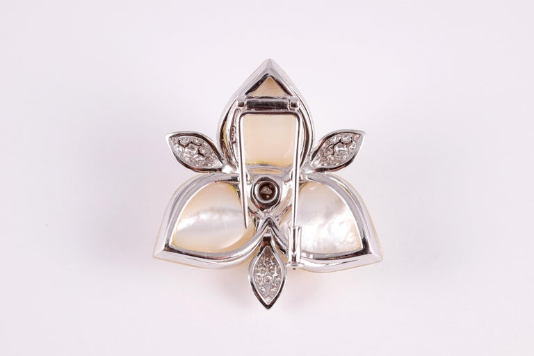 Amarosa Mother of Pearl Diamond Brooch For Sale 2