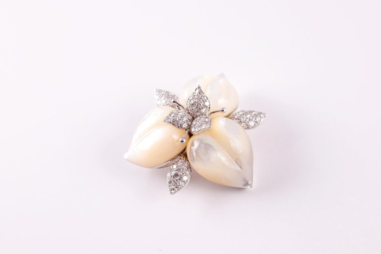 Amarosa Mother of Pearl Diamond Brooch For Sale 4