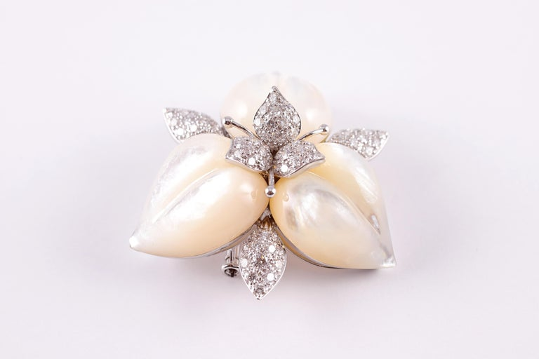 Amarosa Mother of Pearl Diamond Brooch For Sale 5