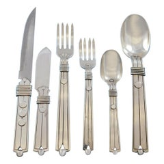 Amarres Disco by William Spratling Mexico Sterling Silver Flatware Set 26 Pieces