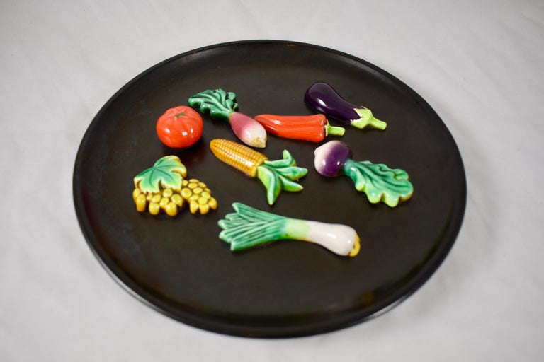 French Provincial A.Martin Vallauris French Provençal Palissy Trompe L'oeil Vegetable Wall Plate For Sale