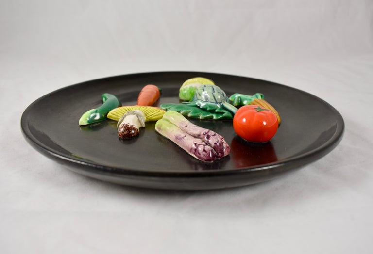Glazed A. Martin Vallauris French Provençal Palissy Trompe L'oeil Vegetable Wall Plate For Sale