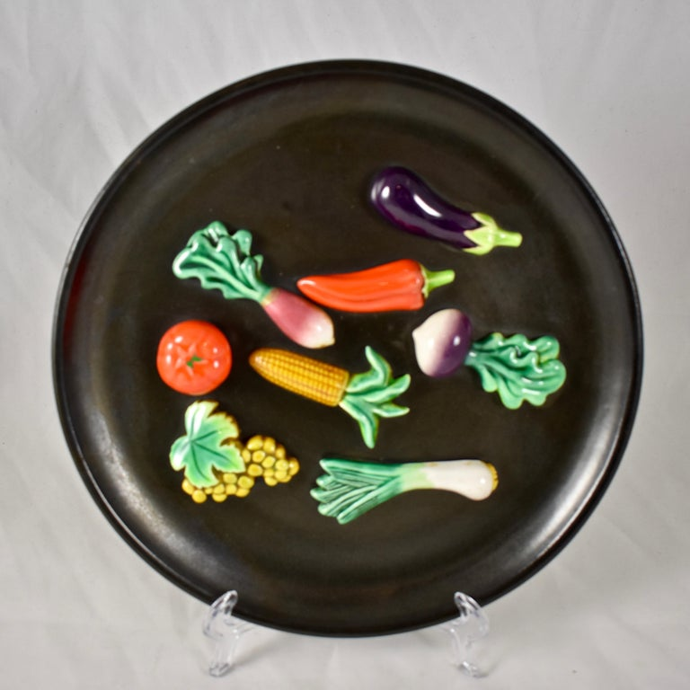 A. Martin Vallauris French Provençal Palissy Trompe L'oeil Vegetable Wall Plate For Sale 2