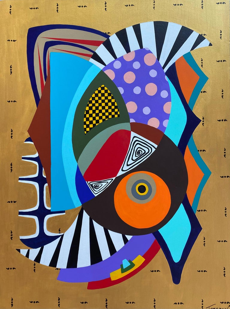 Dominant color: Gold  Torezan is a Brazilian-born painter currently living and working in South Florida. Inspired by representations of the future produced in the Mid-20th century, Torezan developed his unique style creating hard-edged compositions,