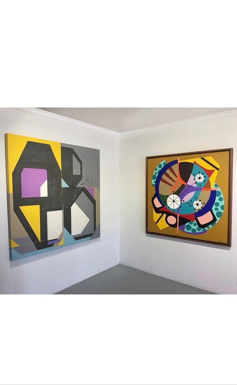 A strikingly bright composition painted by Amauri Torezan. Large abstract painting on canvas.   Torezan is a Brazilian-born painter currently living and working in South Florida.   Inspired by representations of the future produced in the