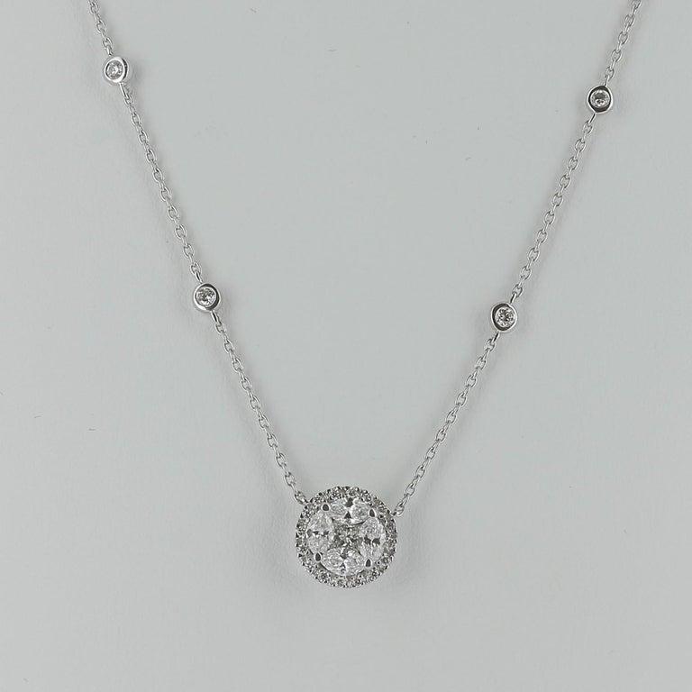 Contemporary Amazing 0.57 Carat Marquise Diamond Pendant Necklace 18 Karat White Gold GVS For Sale