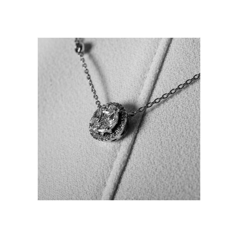Amazing 0.57 Carat Marquise Diamond Pendant Necklace 18 Karat White Gold GVS In New Condition For Sale In Herzliya, IL
