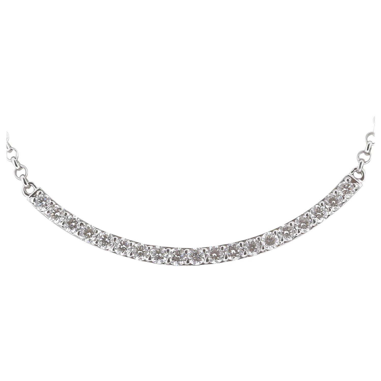 0.64 Carats GVS Round Diamond Pendant Necklace 18K White Gold Crescent Moon