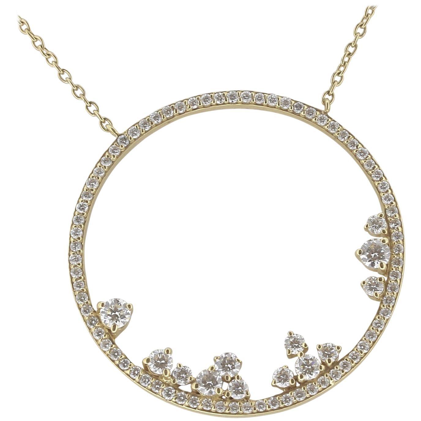 0.82 Carat GVS White Diamond Pendant Necklace 18 Karat Yellow Gold Moon Necklace