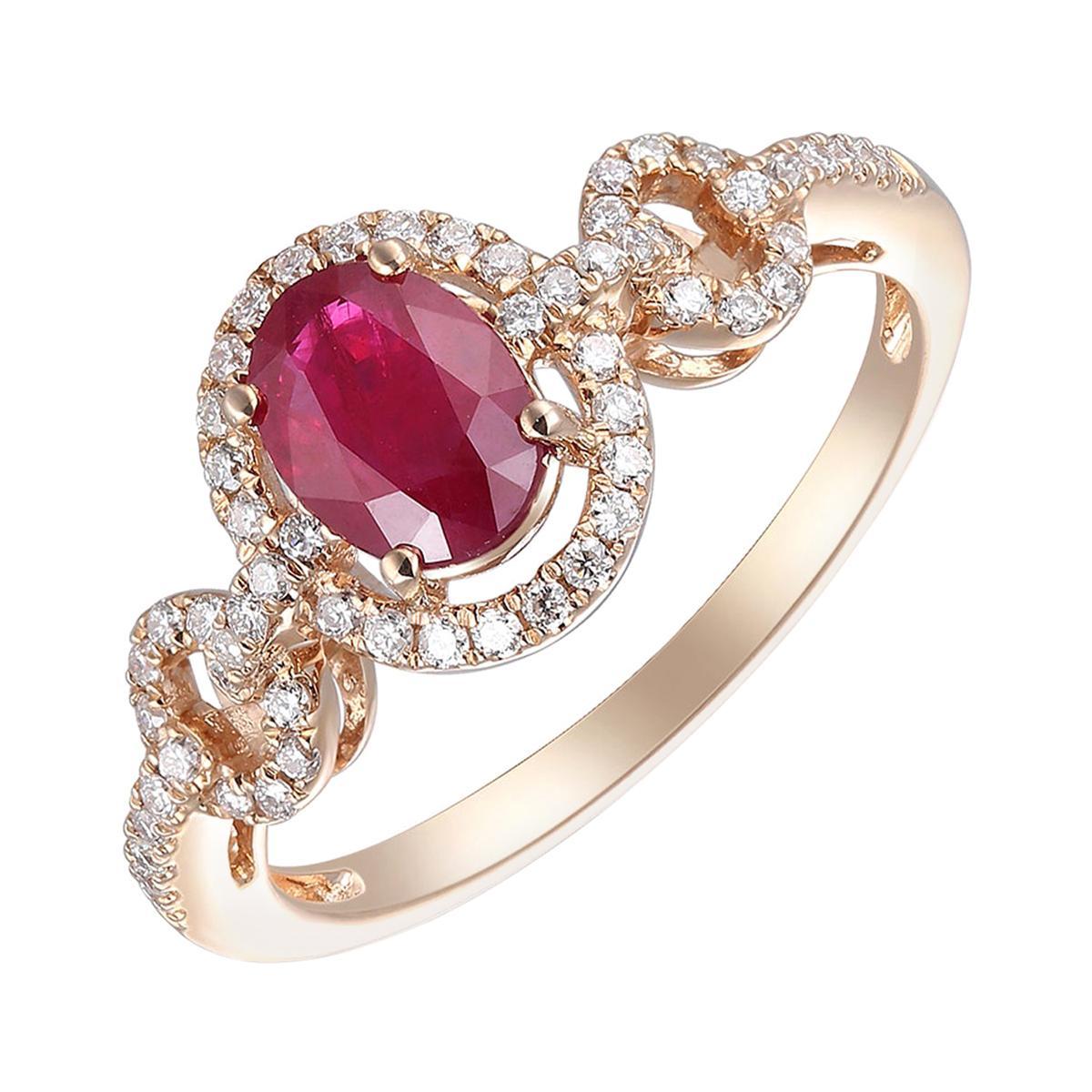 Amazing 14 Karat Pink Gold, Diamond and Ruby Ring