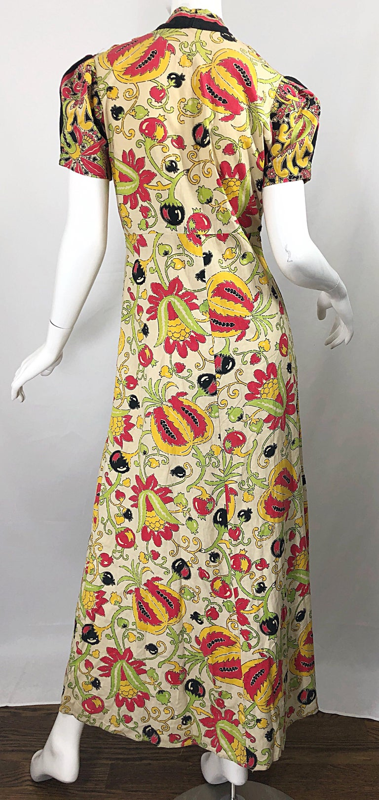 Amazing 1940s Botanical Asian Inspired Paisley Cotton + Linen 40s Maxi Dress For Sale 5