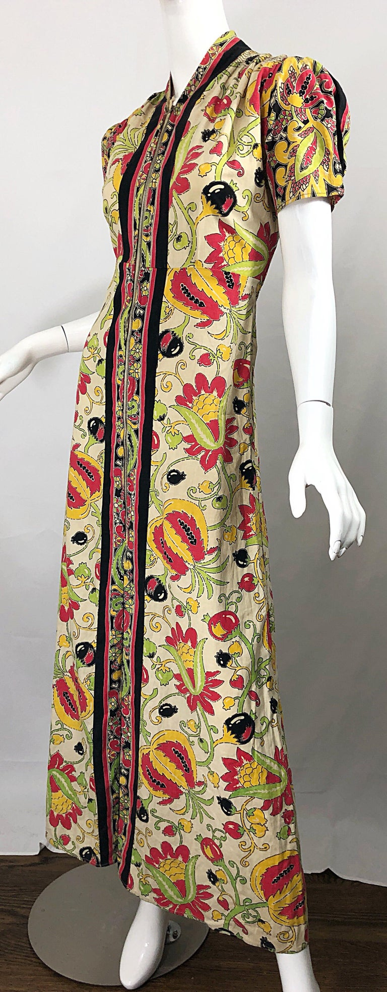 Amazing 1940s Botanical Asian Inspired Paisley Cotton + Linen 40s Maxi Dress For Sale 6