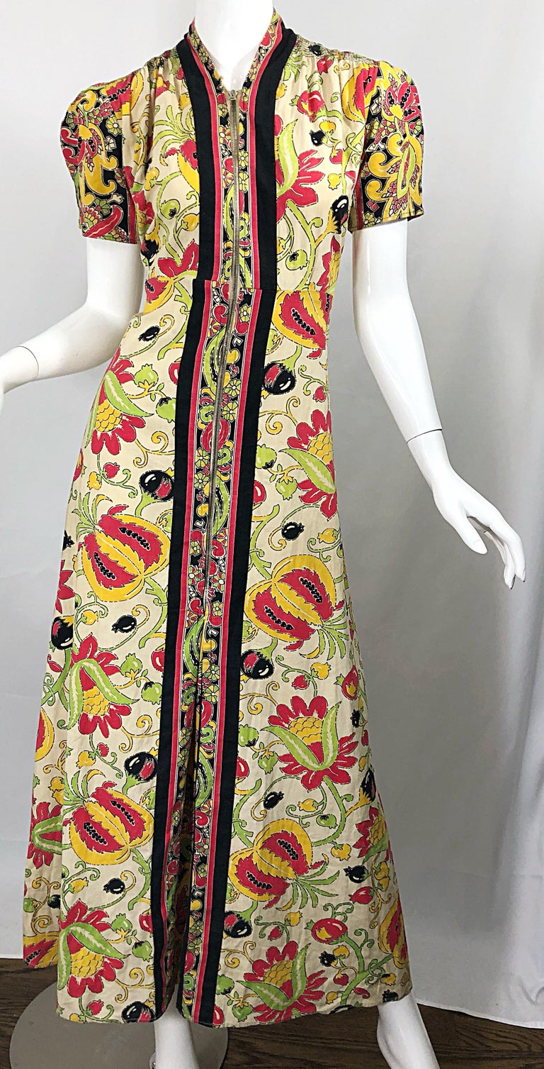 Amazing 1940s Botanical Asian Inspired Paisley Cotton + Linen 40s Maxi Dress For Sale 7