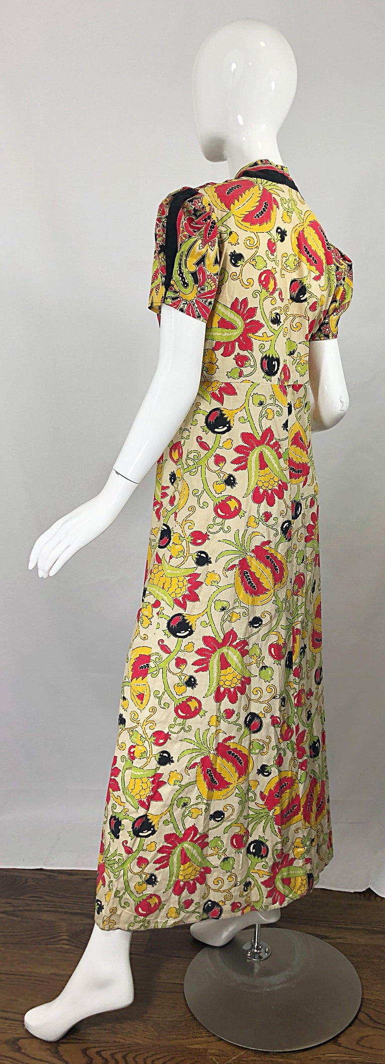 Amazing 1940s Botanical Asian Inspired Paisley Cotton + Linen 40s Maxi Dress For Sale 8