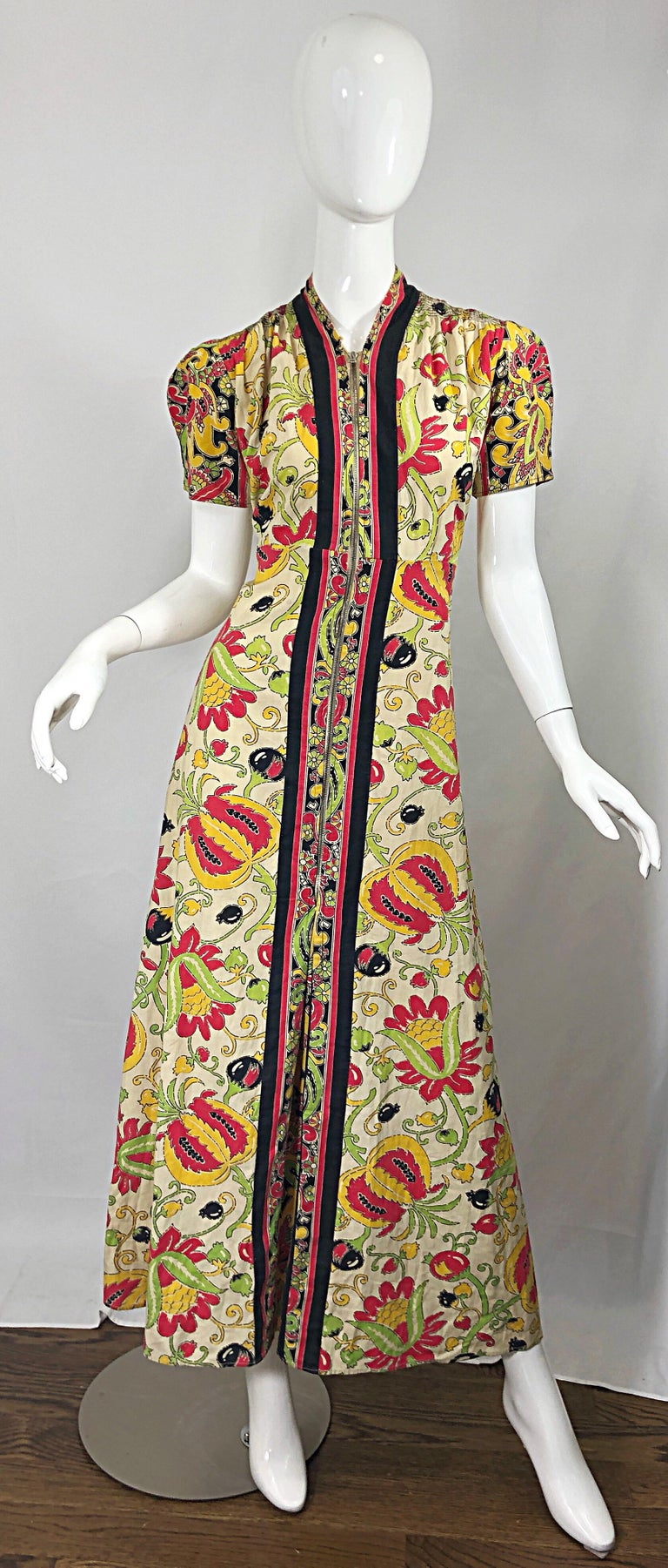 Amazing 1940s Botanical Asian Inspired Paisley Cotton + Linen 40s Maxi Dress For Sale 9