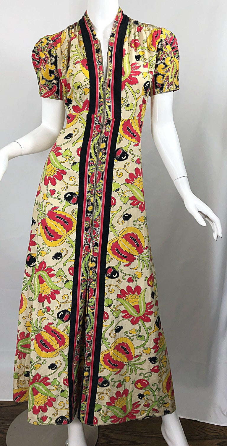 Amazing 1940s Botanical Asian Inspired Paisley Cotton + Linen 40s Maxi Dress For Sale 1