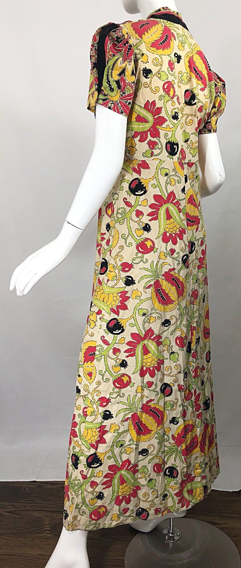Amazing 1940s Botanical Asian Inspired Paisley Cotton + Linen 40s Maxi Dress For Sale 2