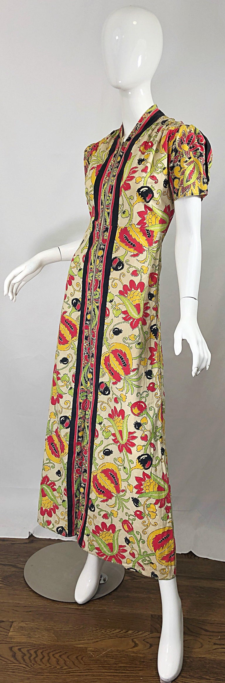 Amazing 1940s Botanical Asian Inspired Paisley Cotton + Linen 40s Maxi Dress For Sale 3
