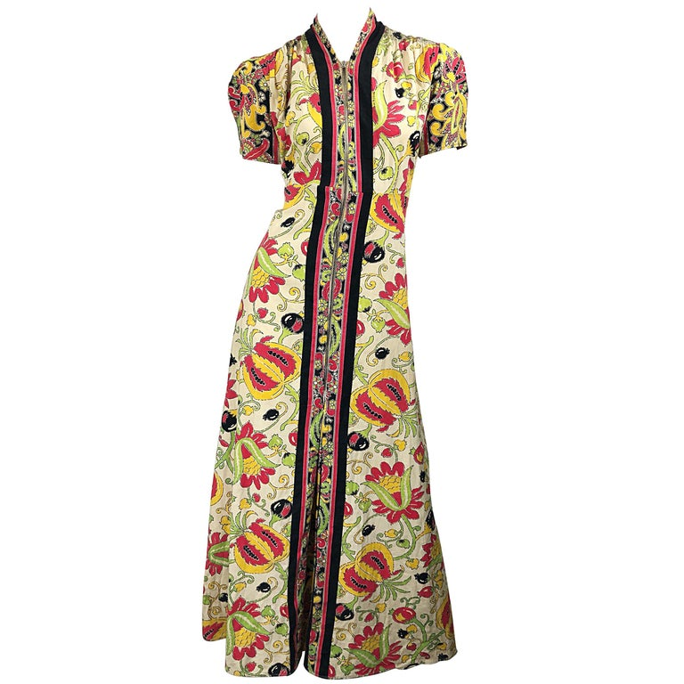 Amazing 1940s Botanical Asian Inspired Paisley Cotton + Linen 40s Maxi Dress For Sale