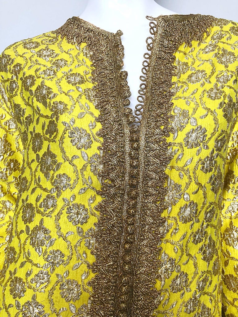 Brown Amazing 1960s Moroccan Couture Silk Brocade Yellow + Gold Caftan 60s Maxi Dress For Sale