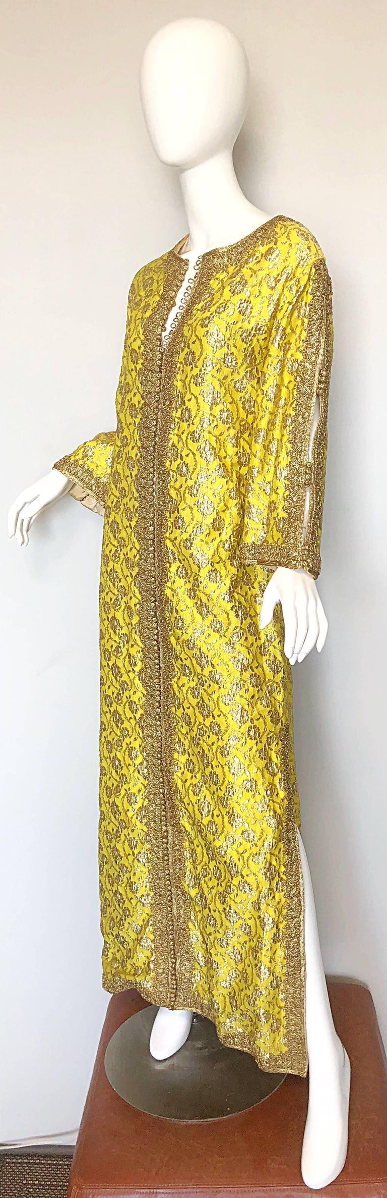 Amazing 1960s Moroccan Couture Silk Brocade Yellow + Gold Caftan 60s Maxi Dress In Excellent Condition For Sale In Chicago, IL