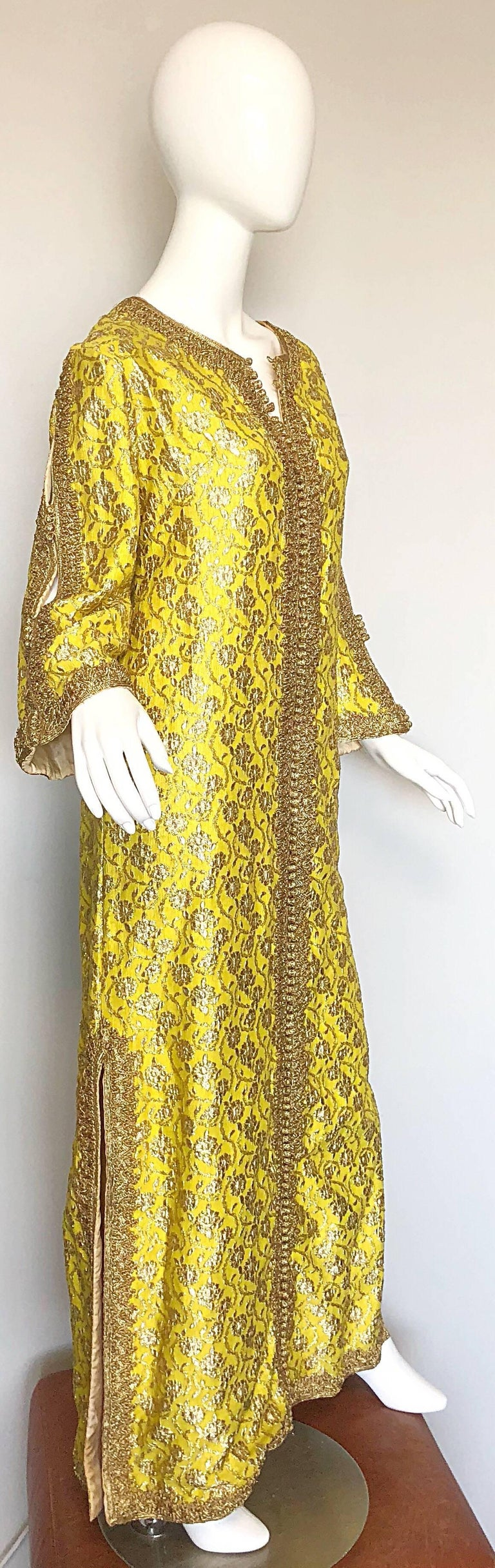 Amazing 1960s Moroccan Couture Silk Brocade Yellow + Gold Caftan 60s Maxi Dress For Sale 1