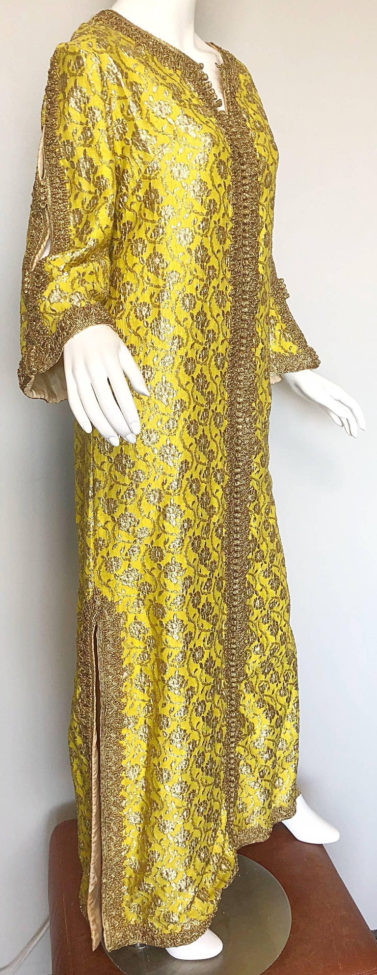Amazing 1960s Moroccan Couture Silk Brocade Yellow + Gold Caftan 60s Maxi Dress For Sale 2