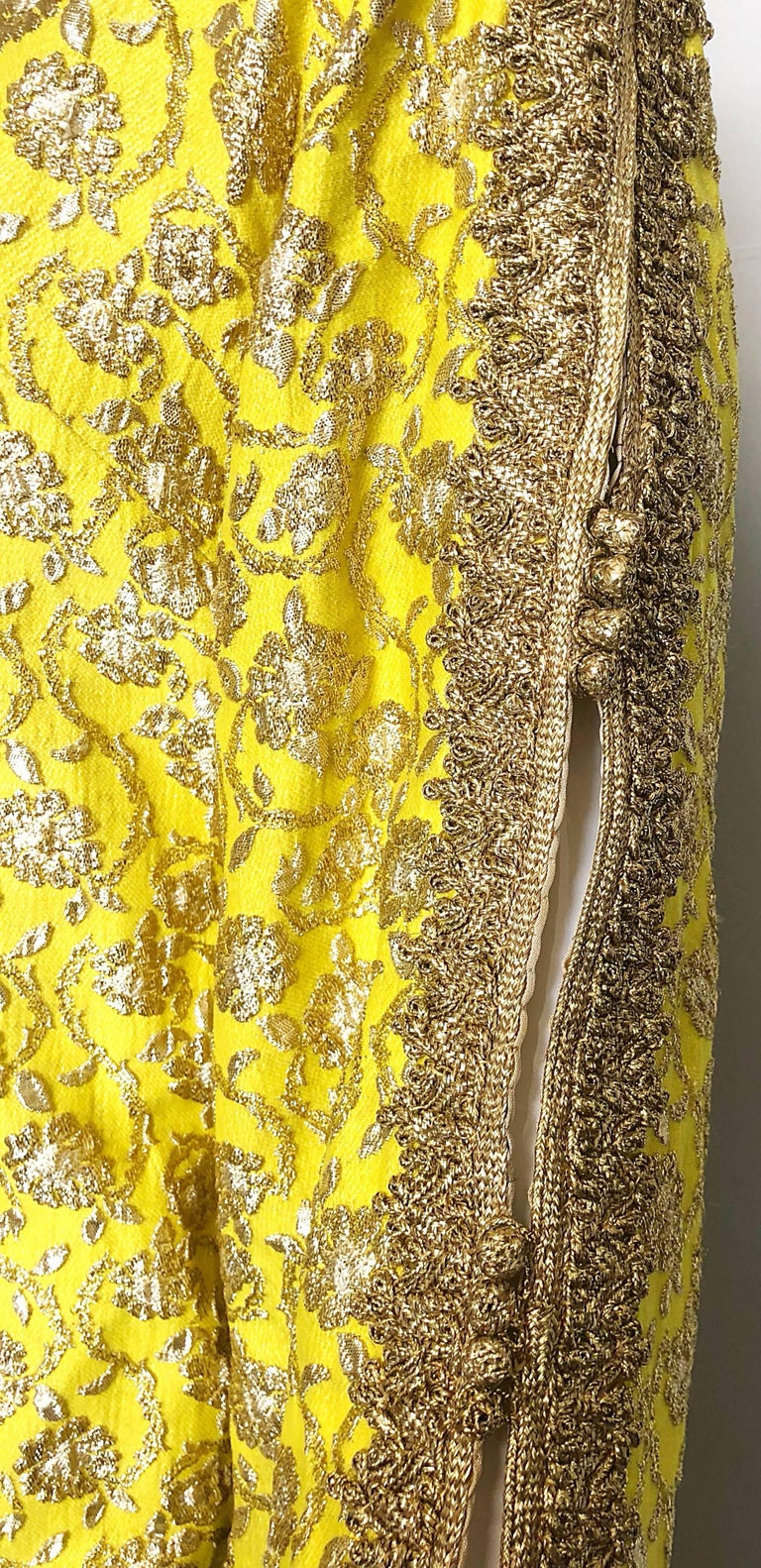 Amazing 1960s Moroccan Couture Silk Brocade Yellow + Gold Caftan 60s Maxi Dress For Sale 3