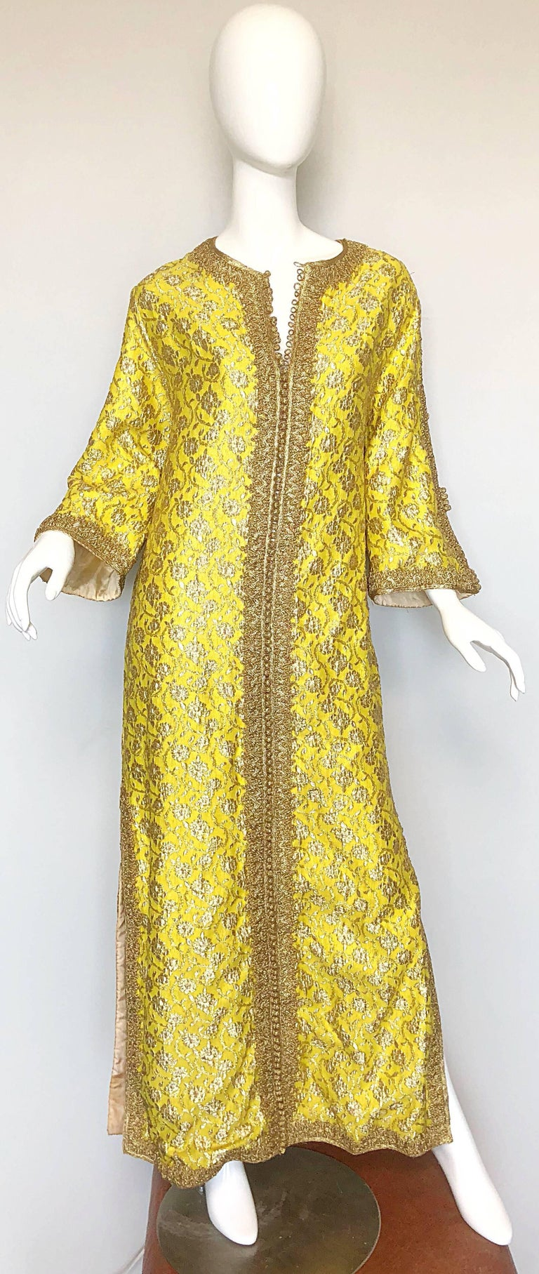 Amazing 1960s Moroccan Couture Silk Brocade Yellow + Gold Caftan 60s Maxi Dress For Sale 4