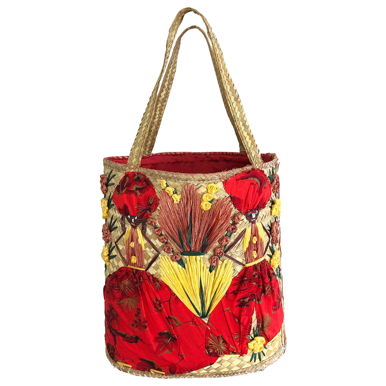 Amazing 1970s Extra Large Novelty Embroidered Raffia Vintage 70s Straw Bag Purse