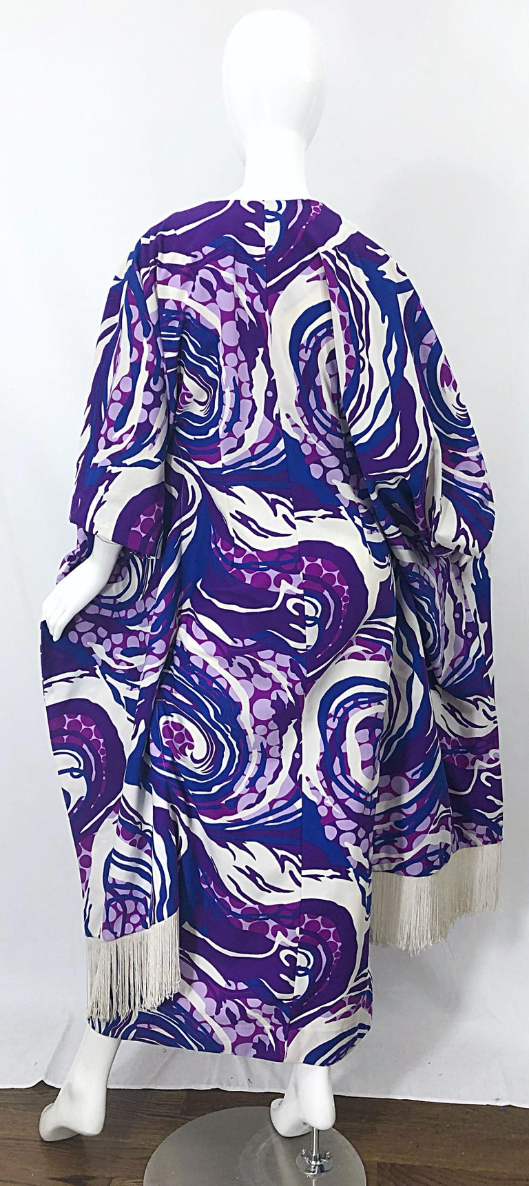 Women's Amazing 1970s Fringed Purple and Blue Abstract Swirl Print Vintage 70s Caftan For Sale