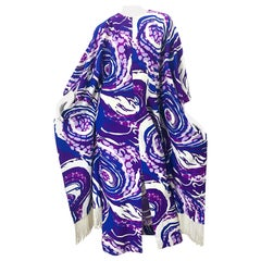 Amazing 1970s Fringed Purple and Blue Abstract Swirl Print Vintage 70s Caftan