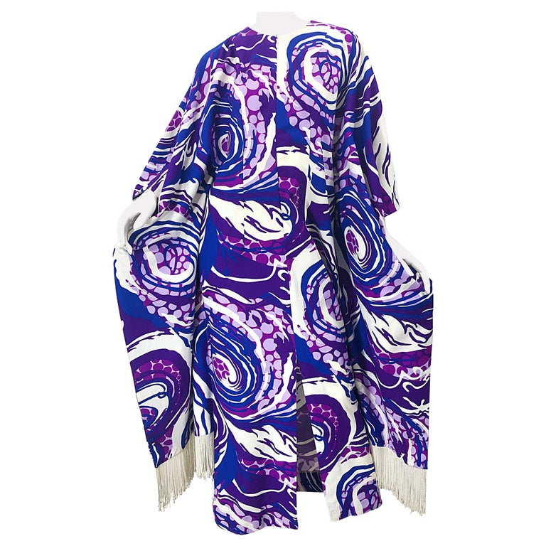 Amazing 1970s Fringed Purple and Blue Abstract Swirl Print Vintage 70s Caftan For Sale