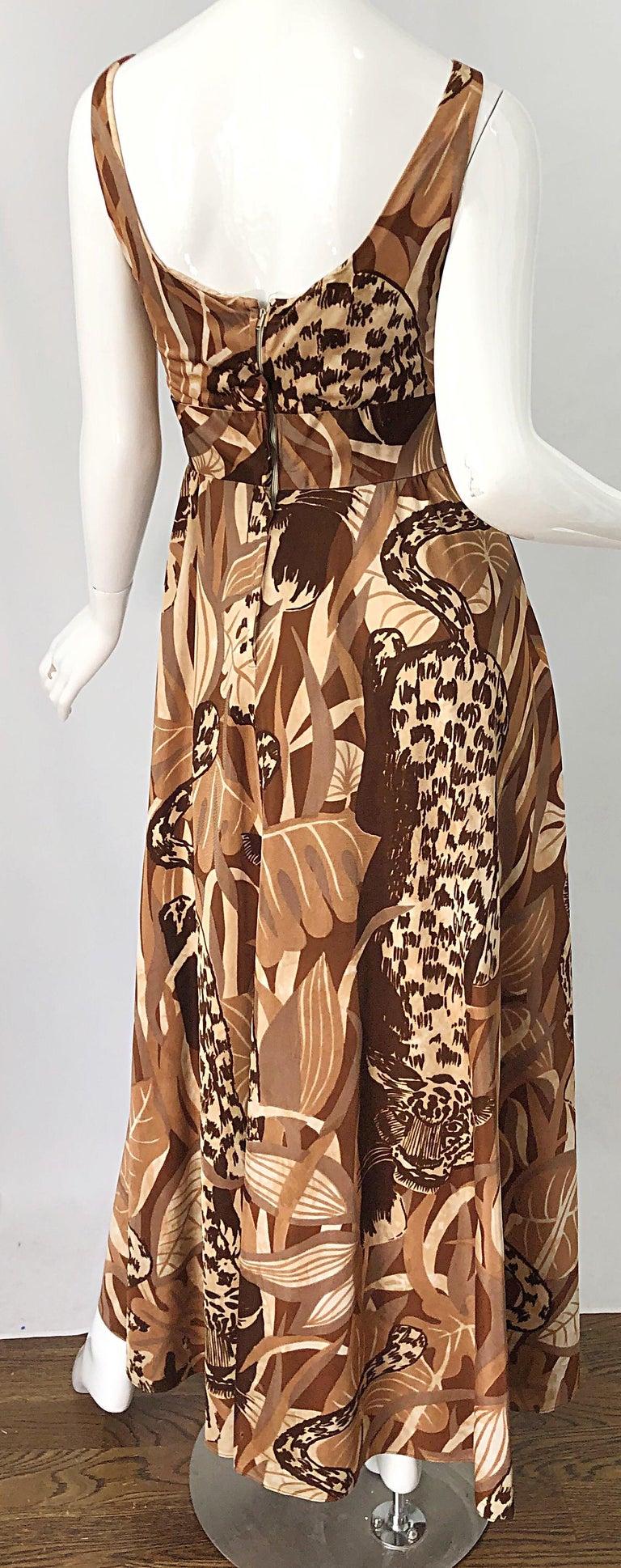 Amazing 1970s Futura Couture Leopard Print Joe Exotic Vintage 70s Maxi Dress For Sale 5