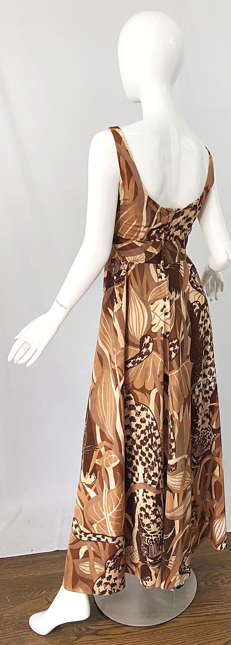 Amazing 1970s Futura Couture Leopard Print Joe Exotic Vintage 70s Maxi Dress For Sale 7