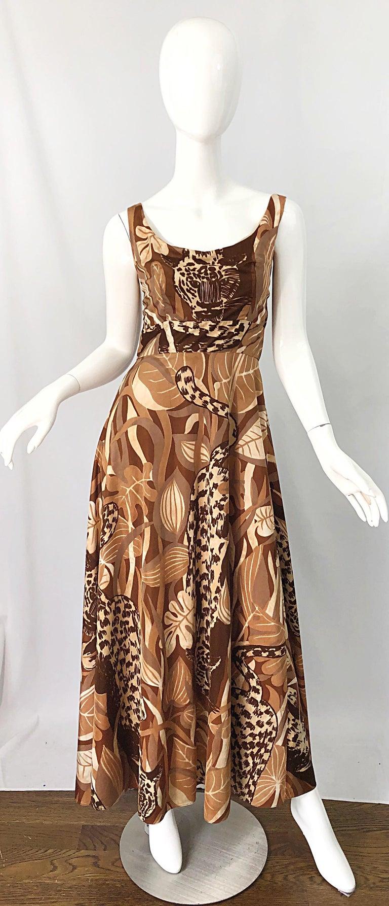 Amazing 1970s Futura Couture Leopard Print Joe Exotic Vintage 70s Maxi Dress For Sale 8