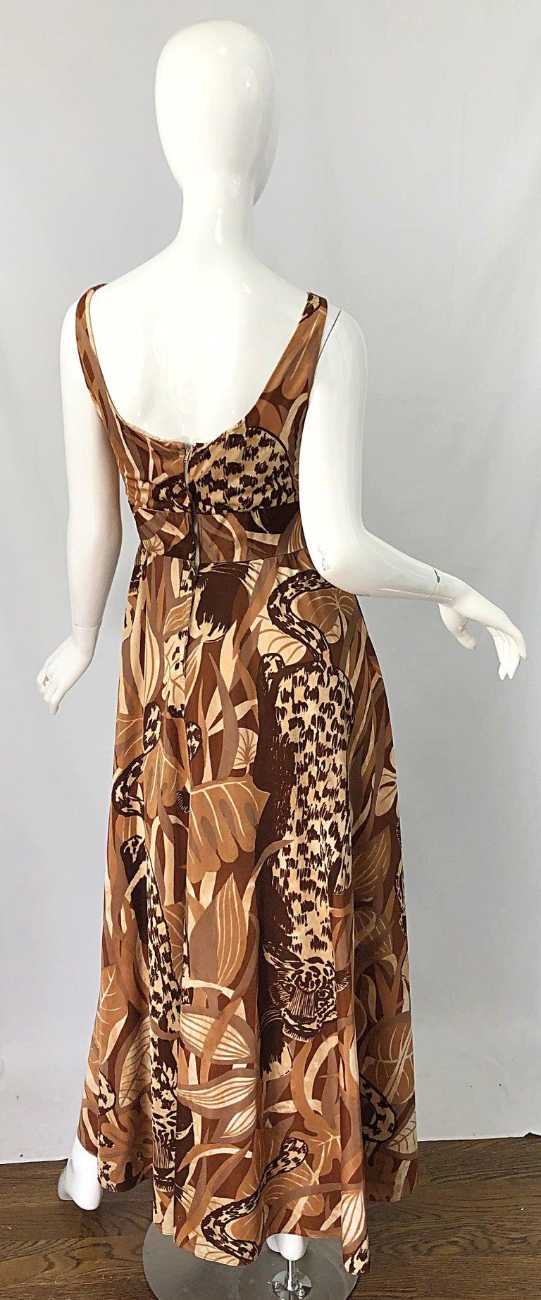 Brown Amazing 1970s Futura Couture Leopard Print Joe Exotic Vintage 70s Maxi Dress For Sale