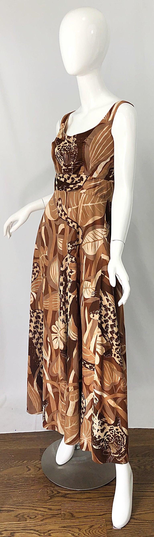 Women's Amazing 1970s Futura Couture Leopard Print Joe Exotic Vintage 70s Maxi Dress For Sale