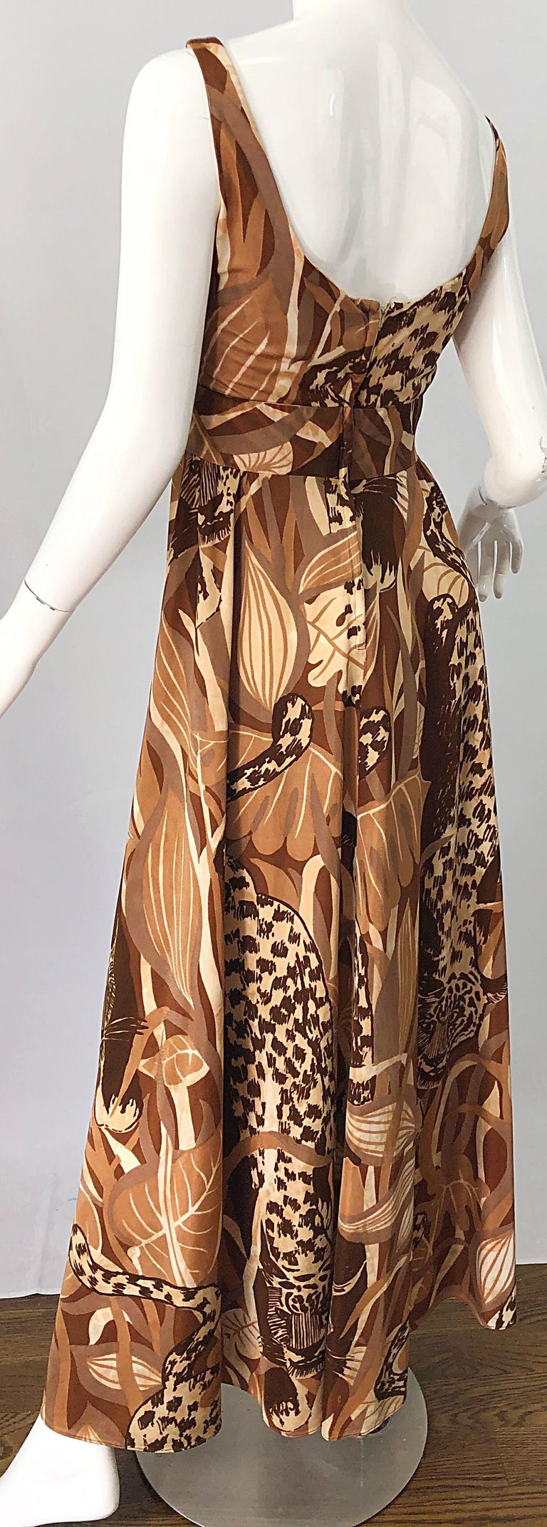 Amazing 1970s Futura Couture Leopard Print Joe Exotic Vintage 70s Maxi Dress For Sale 1