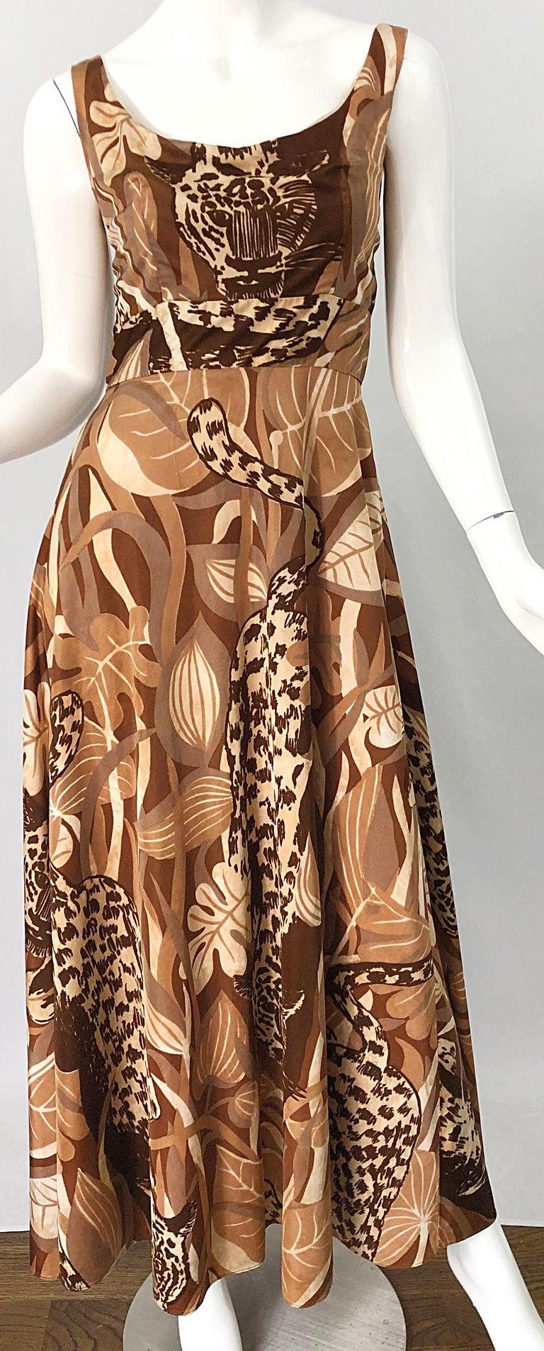Amazing 1970s Futura Couture Leopard Print Joe Exotic Vintage 70s Maxi Dress For Sale 2
