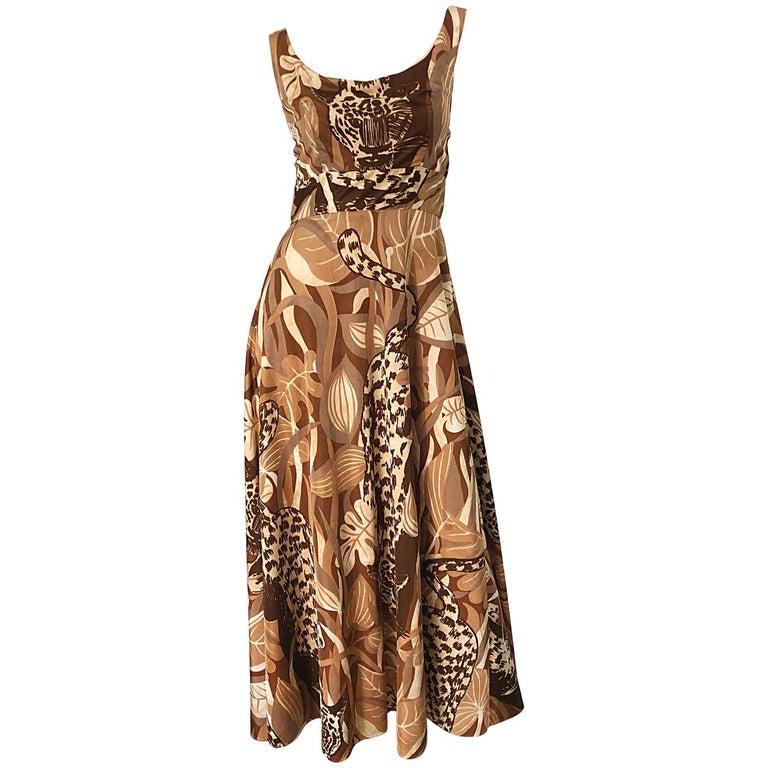 Amazing 1970s Futura Couture Leopard Print Joe Exotic Vintage 70s Maxi Dress For Sale